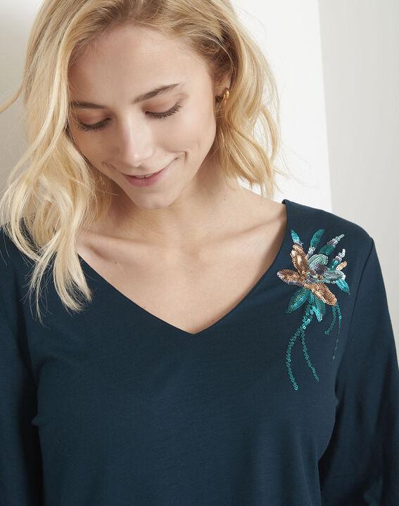 Tee-shirt vert fleur brodée Pearl (3) - Maison 123