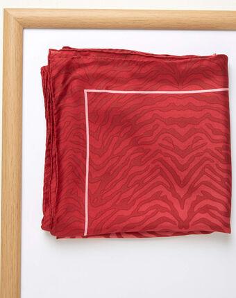 Carré de soie imprimé peau de bête rouge anouk grenade.