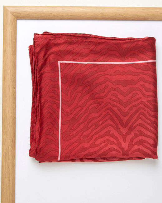 Anouk beige animal print square silk scarf (1) - 1-2-3