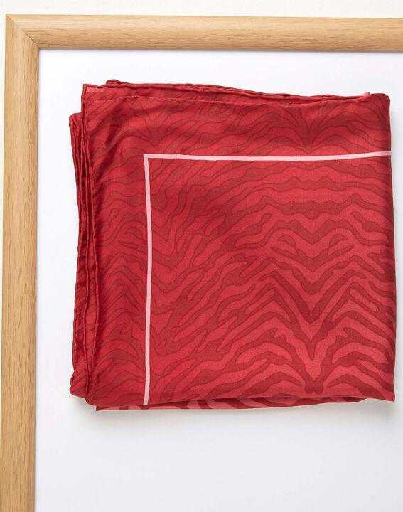Carré de soie imprimé peau de bête rouge Anouk (2) - 1-2-3