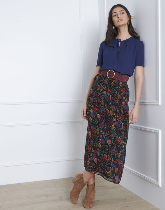 Viola navy blouse with laced neckline (1) - 1-2-3