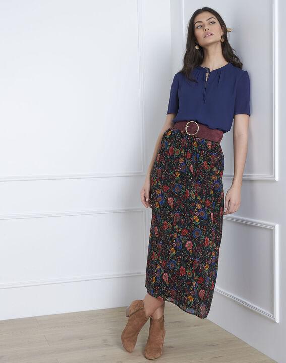 Marineblauwe blouse met vetersluiting aan de hals Viola PhotoZ | 1-2-3