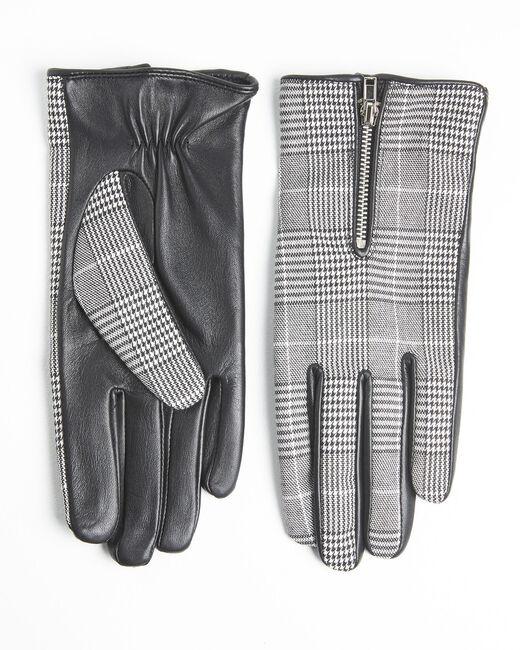 Gants noir et blanc carreaux en cuir Ulysse (1) - 37653