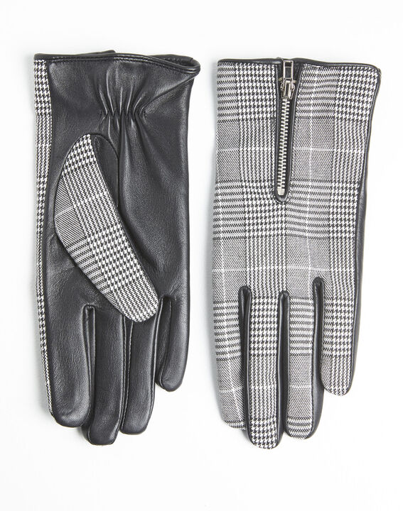 Ulysse leather gloves with Prince of Wales print (2) - 1-2-3
