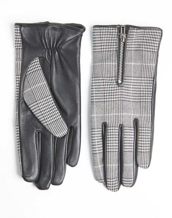 Gants noir et blanc carreaux en cuir Ulysse PhotoZ | 1-2-3