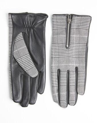 Handschoenen met prince-de-galles-print van leer ulysse noir/blanc.