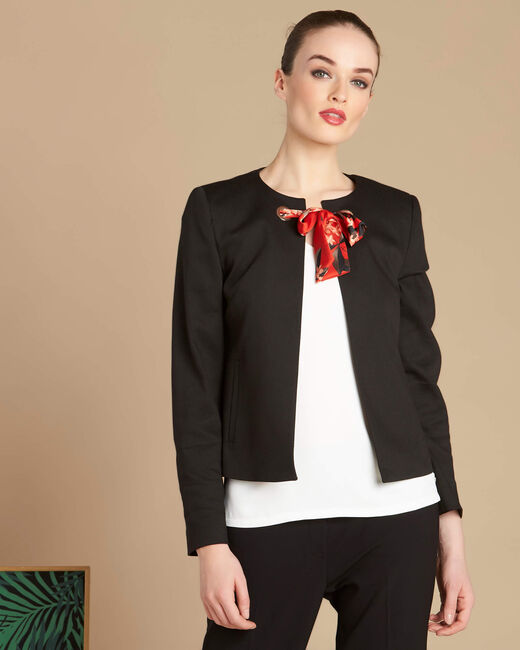 Kurze schwarze Jacke mit Bindeband Calice (2) - 1-2-3