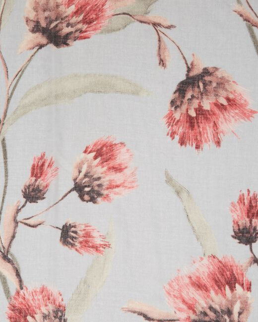 Foulard gris pâle fleuri Essia (2) - 1-2-3