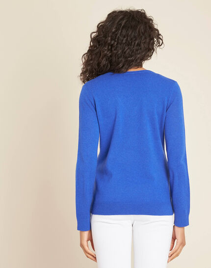 Pivoine royal blue V-neck sweater in cashmere (4) - 1-2-3