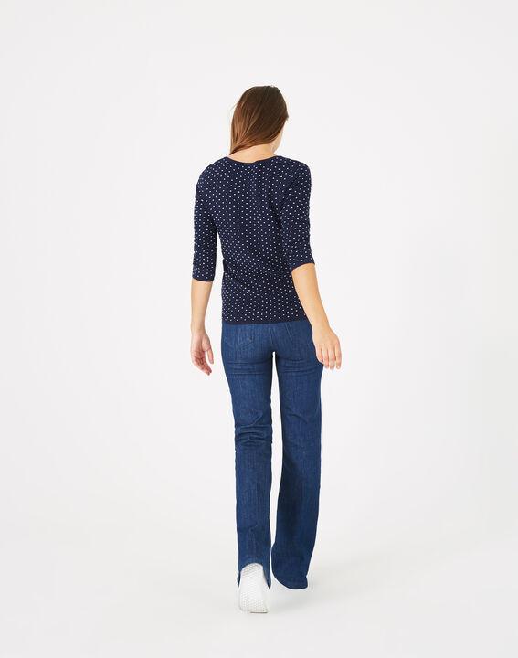 Blauer Pullover mit Tupfen Pastille (5) - 1-2-3