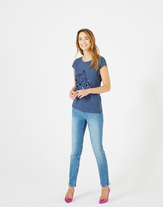 Tee-shirt bleu roi imprimé Bambou (4) - 1-2-3