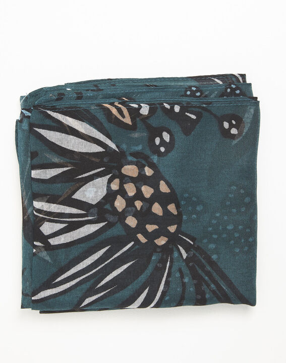 Groene sjaal met bloemenprint Fleur (1) - 37653