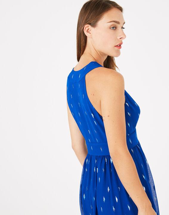 Groove royal blue dress with silver leaf design (4) - 1-2-3