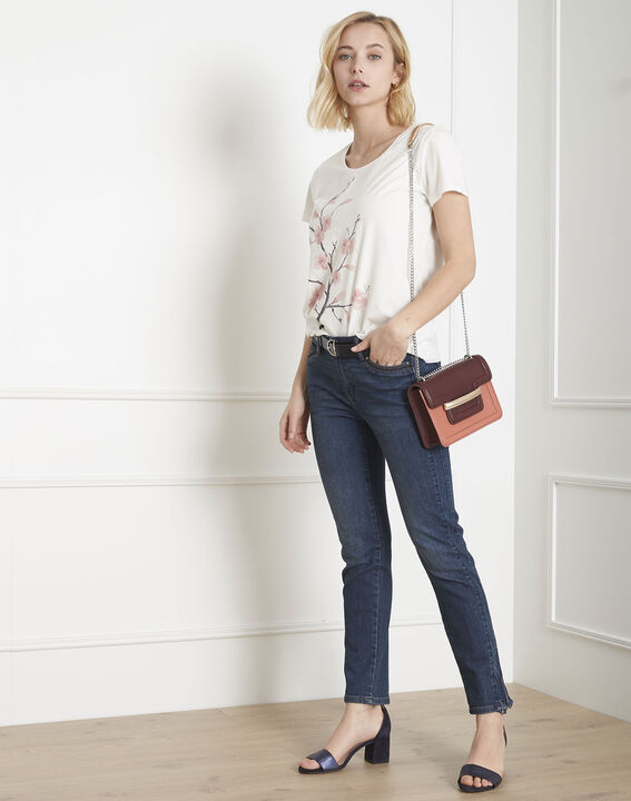 Tee-shirt écru imprimé fleuri Pilou (1) - Maison 123