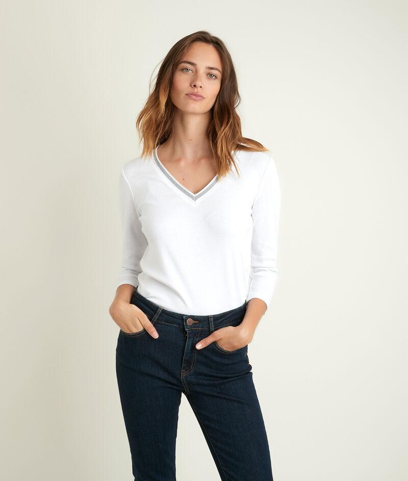 Tee-shirt blanc encolure fantaisie Calypso PhotoZ | 1-2-3