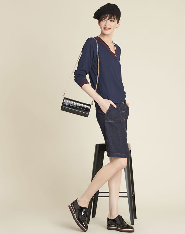 Carmen navy blue blouse with contrasting neckline (2) - 1-2-3