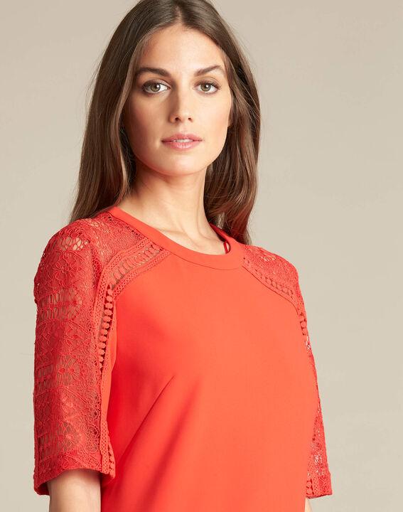 Robe rouge bimatière dentelle Pastel (1) - 1-2-3