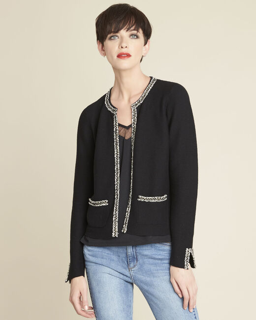 Bonchic black cardigan with decorative detailing (2) - 1-2-3