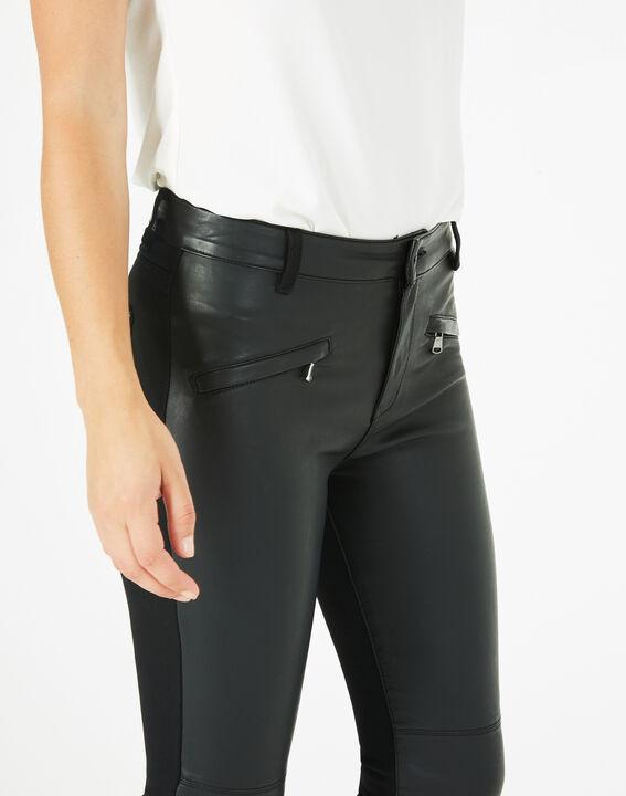 Pantalon noir slim milano faux cuir Kassy (3) - 1-2-3