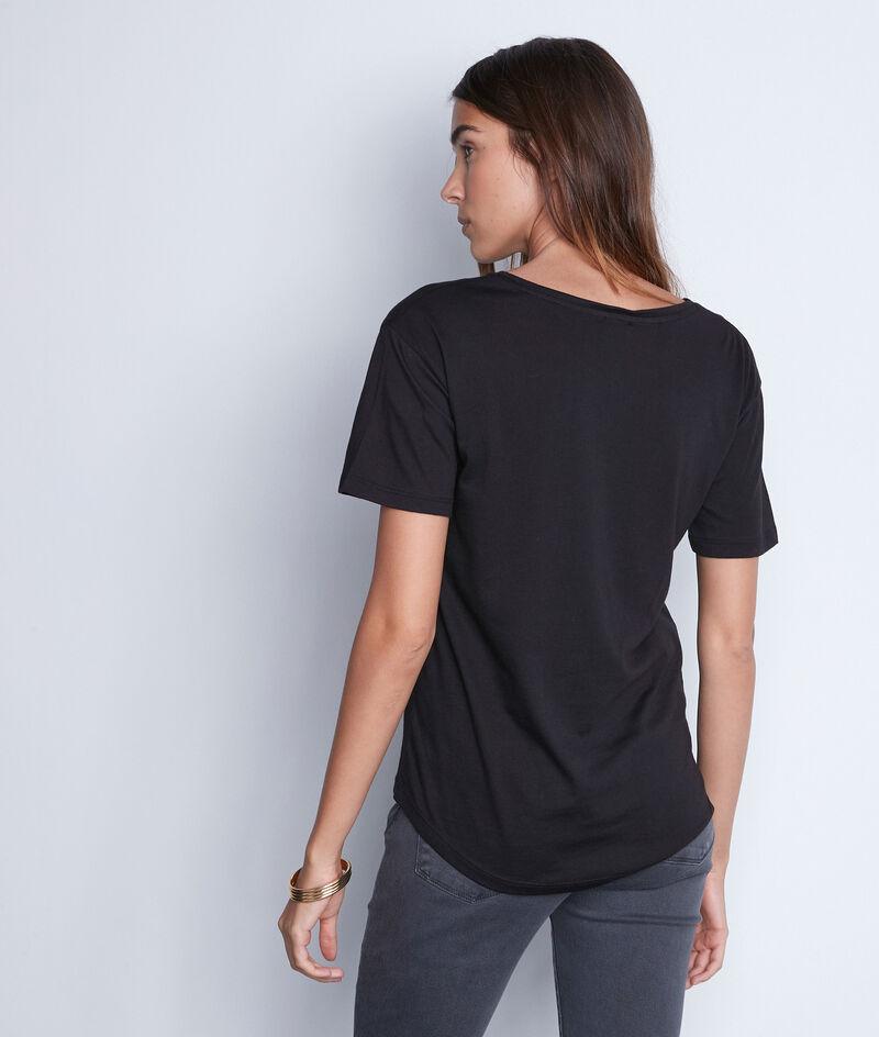Tee-shirt à message en coton noir Elvis PhotoZ | 1-2-3