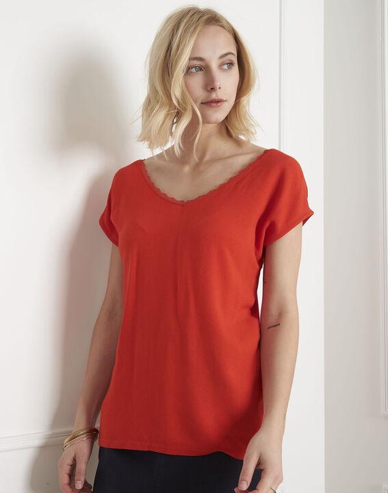 Tee-shirt corail encolure dentelle Passion (1) - Maison 123