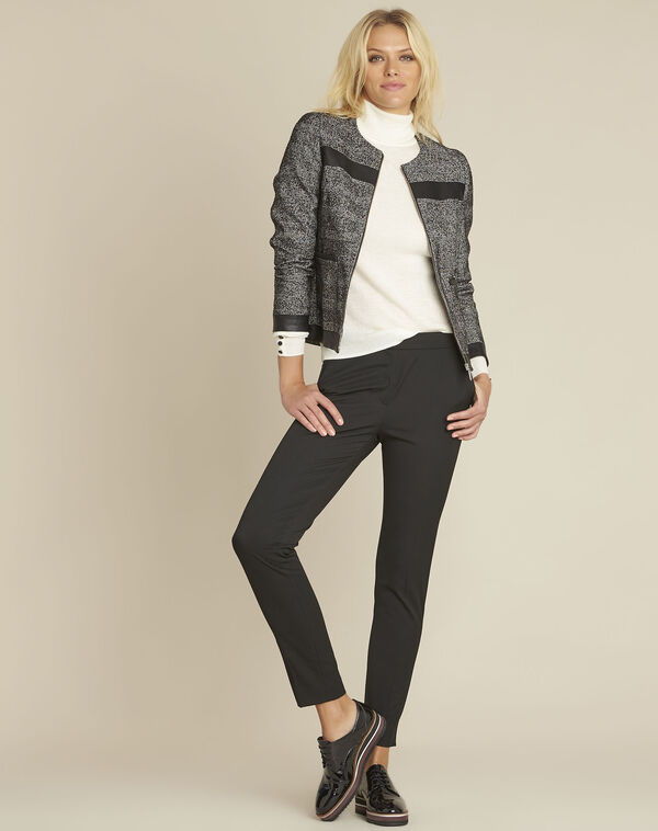 Sophia black bi-material jacket with faux leather panel (2) - 1-2-3