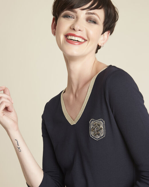 Tee-shirt marine col V plastron Glaive (1) - 1-2-3