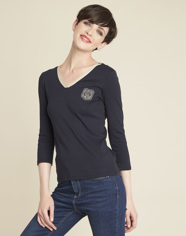Glaive V-neck navy blue T-shirt (1) - 1-2-3