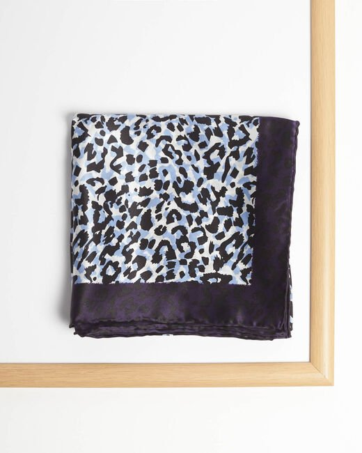 Adoucha leopard print square scarf in blue (1) - 1-2-3