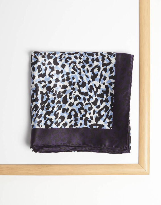 Blauwe vierkante sjaal van zijde met luipaardprint Adoucha (2) - 37653