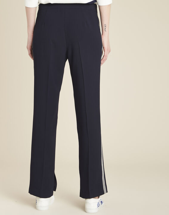 Saxe navy blue trousers with lateral crêpe strip (4) - 1-2-3