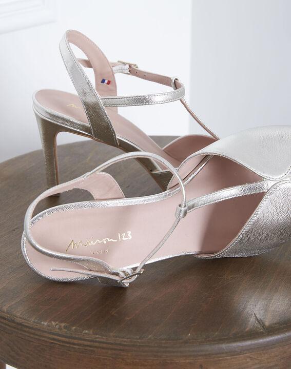 Sandales ouvertes dorées en cuir Yvana (2) - Maison 123