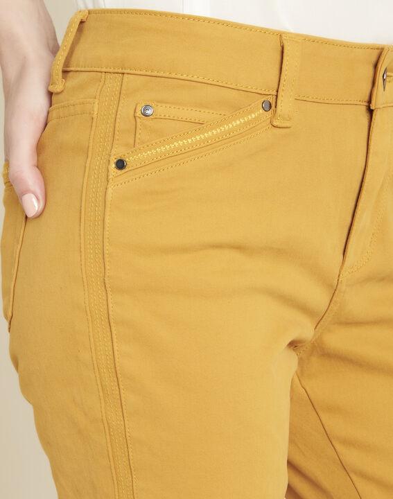 Vendôme 7/8 length slim-cut yellow cotton satin jeans (3) - 1-2-3