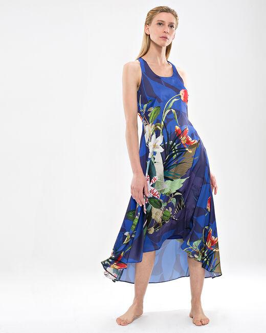 Robe longue bleue imprimé fleuri Béline (1) - 1-2-3