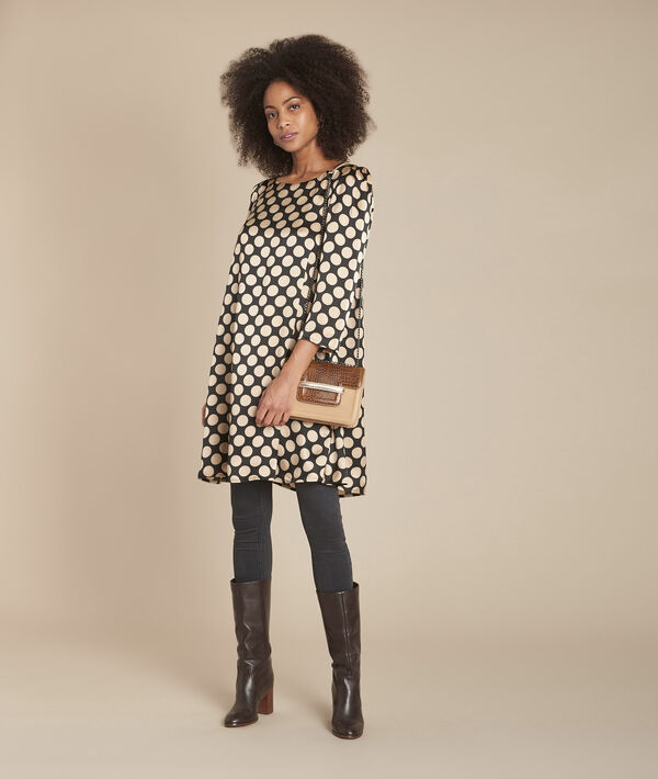 Robe noire à pois en soie Rosie PhotoZ | 1-2-3