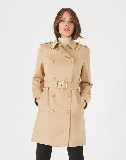 Beigefarbener halblanger Trenchcoat Julie (1) - 1-2-3