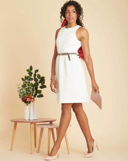 Inatalia white jacquard dress with fancy belt (2) - 1-2-3