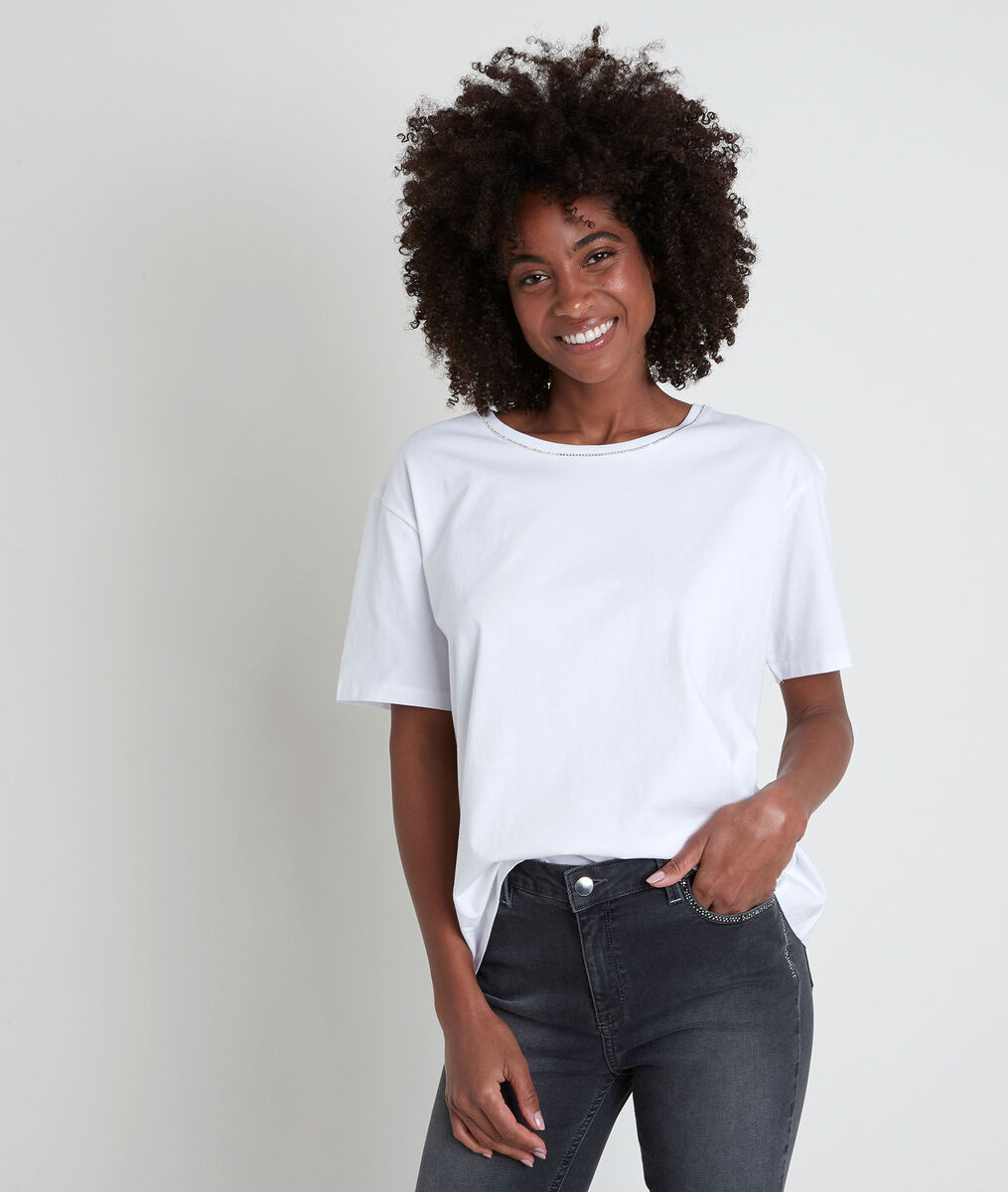 Tee-shirt en coton biologique blanc à strass Inox PhotoZ | 1-2-3
