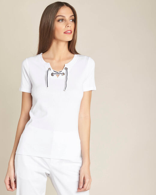 Evidence white T-shirt with rounded neckline and eyelets (2) - 1-2-3