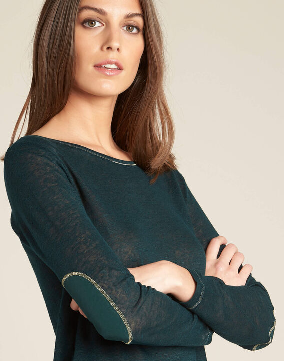 Elin fine forest green sweater in linen with golden topstitching (1) - 1-2-3