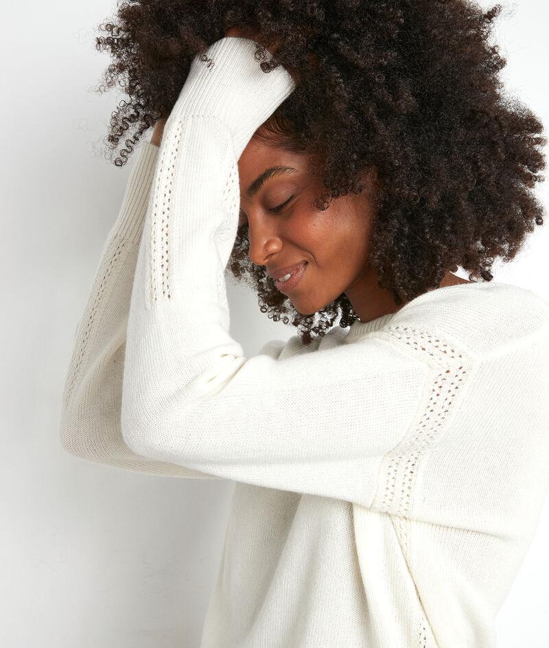 Pull en laine recyclé blanc Tobby PhotoZ | 1-2-3