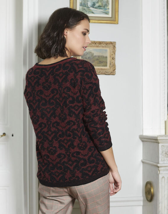 Pull rouge motif baroque Brocato (4) - 1-2-3