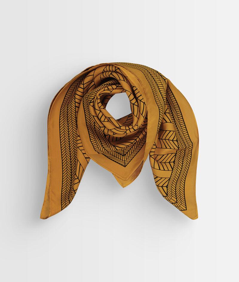 Foulard carré en soie imprimé ocre Pandora PhotoZ | 1-2-3