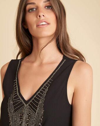 Top noir bi-matière perles brodées breeze noir.