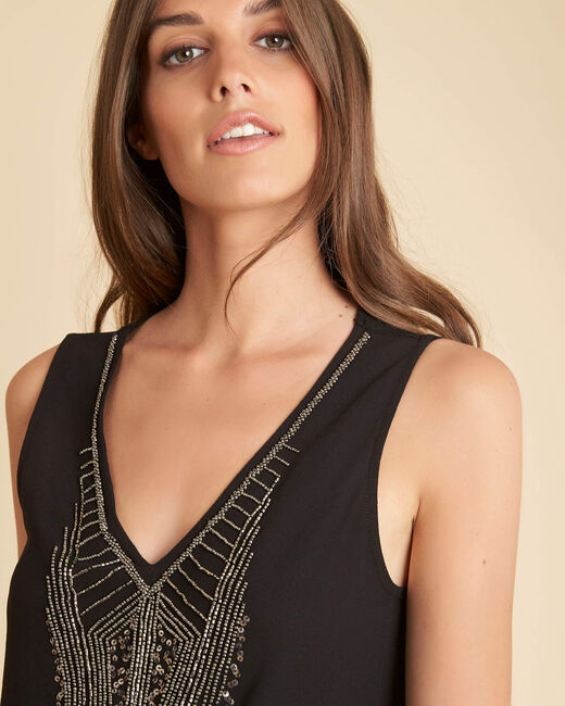 Breeze dual-fabric embroidered black top with beading (2) - 1-2-3
