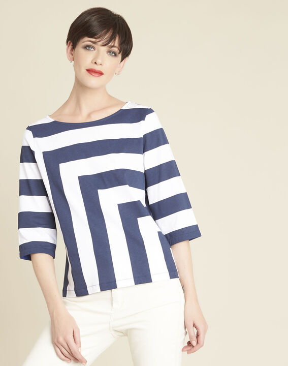 Weißes gestreiftes T-Shirt Galinette (1) - 1-2-3