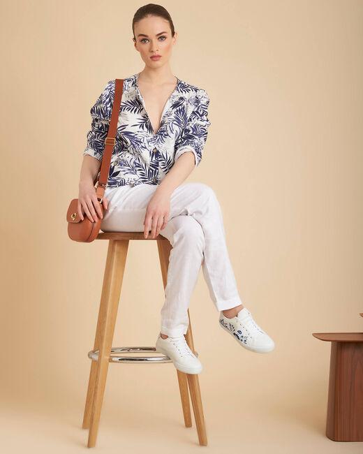 Fibie indigo cropped palm print jacket (1) - 1-2-3