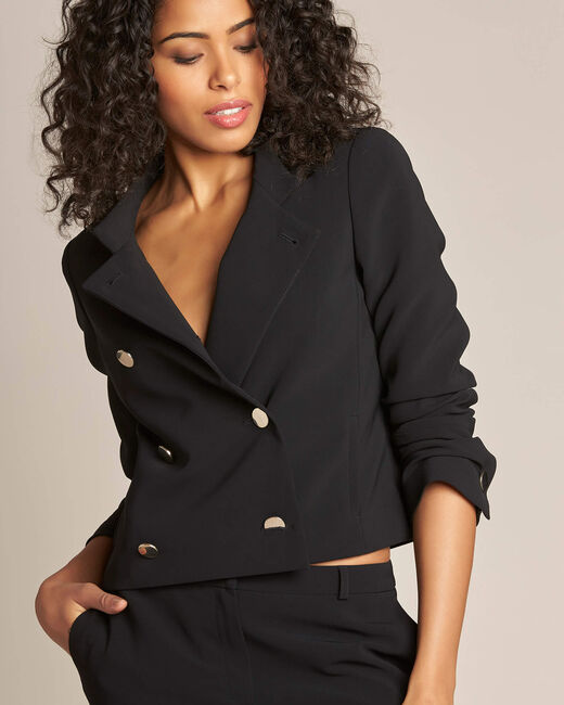 Citron double-breasted cropped black jacket (1) - 1-2-3