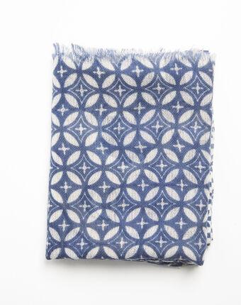 Felicia navy blue printed wool scarf navy.