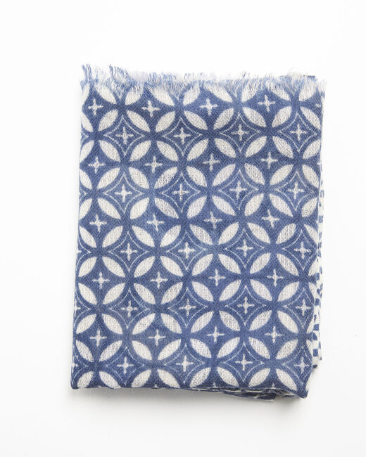Foulard marine imprimé en laine Felicia (2) - 1-2-3